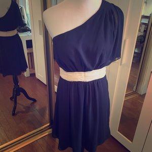 Blue chiffon dress with light pink waist band